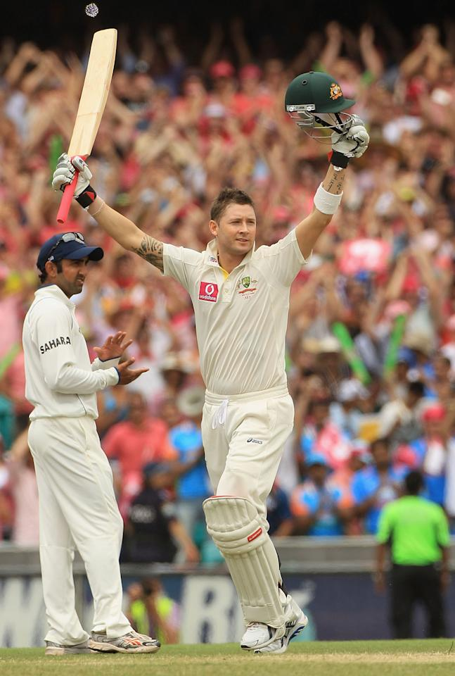 SYDNEY, AUSTRALIA - JANUARY 05:  Michael Clarke of Australia celebrates his triple century during day three of the Second Test Match between Australia and India at Sydney Cricket Ground on January 5, 2012 in Sydney, Australia.  (Photo by Hamish Blair/Getty Images)