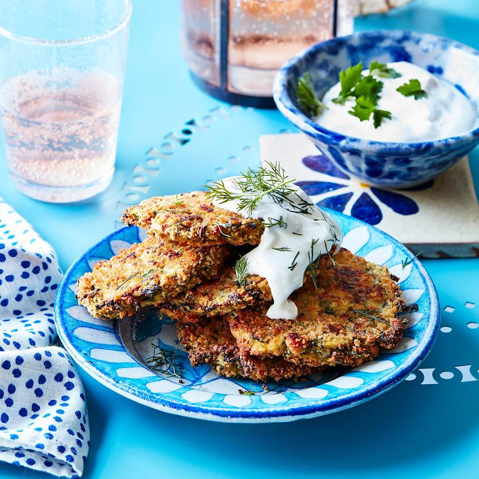 <p>Greeks nibble on these popular zucchini patties as a meze in tavernas while waiting for their main courses to arrive.</p>