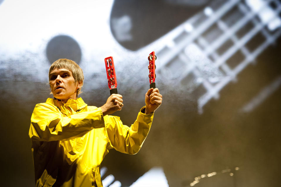 Ian Brown of The Stone Roses performing at the Isle of Wight Festival, in Seaclose Park, Newport, Isle of Wight.