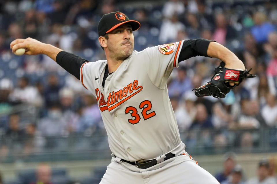 Baltimore Orioles starting pitcher Matt Harvey delivers against the New York Yankees in the first inning of their baseball game, Wednesday, Aug. 4, 2021, in New York. (AP Photo/Mary Altaffer)