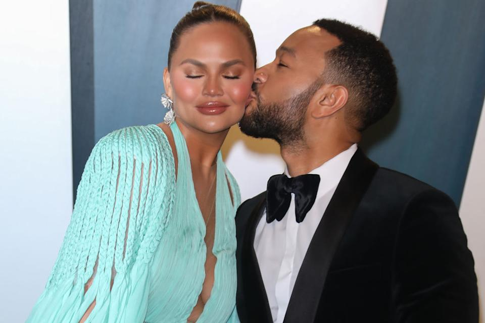 Chrissy Teigen and John Legend have shared the pain of their baby loss, pictured in February 2020. (Getty Images)
