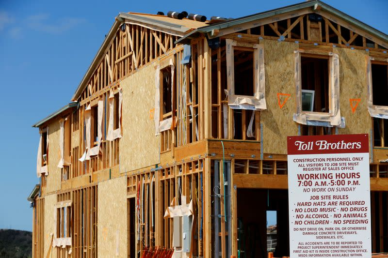 A single family home is shown under construction by Toll Brothers Inc in Carlsbad, California