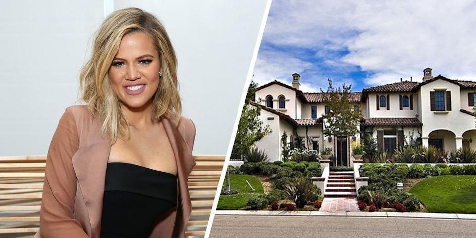 <p>In 2014, Khloe Kardashian purchased a 9,214-square-foot Los Angeles home from pop star Justin Bieber. The spacious property features a 200-bottle wine cellar, six fireplaces, a pool, a guesthouse and two garages.</p>