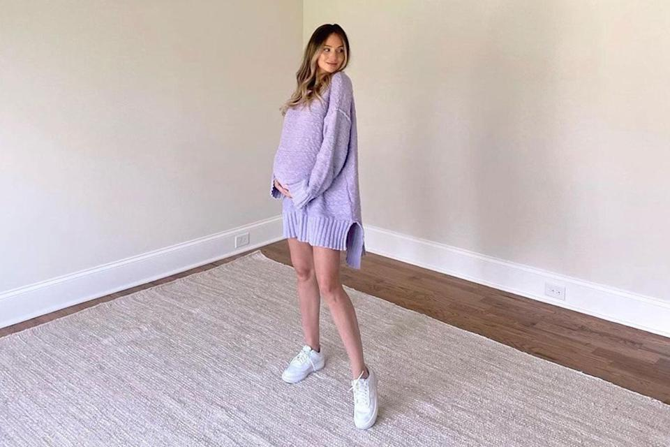 """<p>""""Any other expectant mamas find themselves just hanging out in the empty nursery?"""" the <em>Bachelor</em> alum, who is expecting a son with husband Chris Lane, captioned <a href=""""https://www.instagram.com/p/CNipJ1UBp5E/"""" rel=""""nofollow noopener"""" target=""""_blank"""" data-ylk=""""slk:this photo"""" class=""""link rapid-noclick-resp"""">this photo</a> from their Nashville, TN home. """"It won't be empty for too much longer!!""""</p>"""