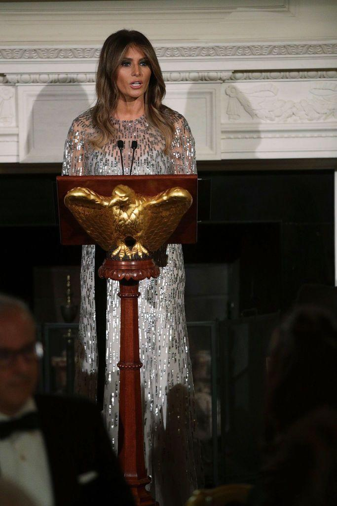 <p>The First Lady spoke at the White House Historical Association reception in a Monique Lhuillier gown.</p>