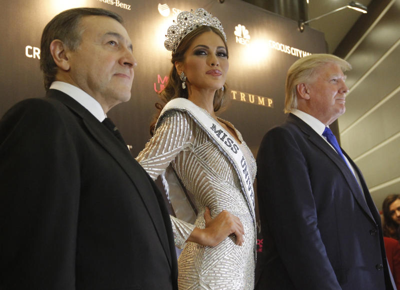 Russian businessman Aras Agalarov, Miss Universe 2013 Gabriela Isler and Trump at a news conference after the Miss Universe pageant in Moscow, Nov. 9, 2013. (Maxim Shemetov / Reuters)