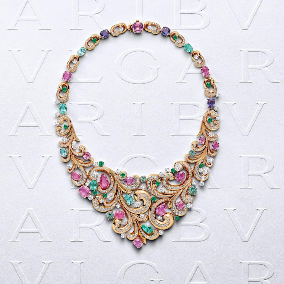 The Lady Arabesque necklace in pink gold with purple and pink sapphires, Paraiba tourmalines, emeralds and diamonds