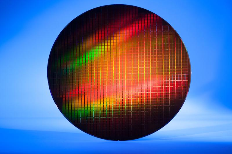 A wafer of memory chips.