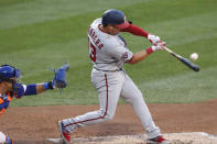 Washington Nationals' Asdrubal Cabrera hits a solo home run during the second inning of a baseball game against the New York Mets, Monday, Aug. 10, 2020, in New York. (AP Photo/Kathy Willens)