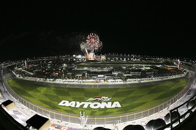 DAYTONA BEACH, FL - JANUARY 26: A wide view of fireworks during the Rolex 24 at Daytona International Speedway on January 26, 2013 in Daytona Beach, Florida. (Photo by Jerry Markland/Getty Images)