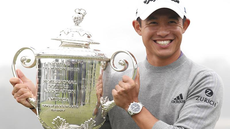 Collin Morikawa, pictured here celebrating with the Wanamaker Trophy after winning the 2020 PGA Championship.
