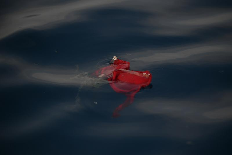 An undergarment floats in the area where a Lion Air flight crashed into the Java Sea