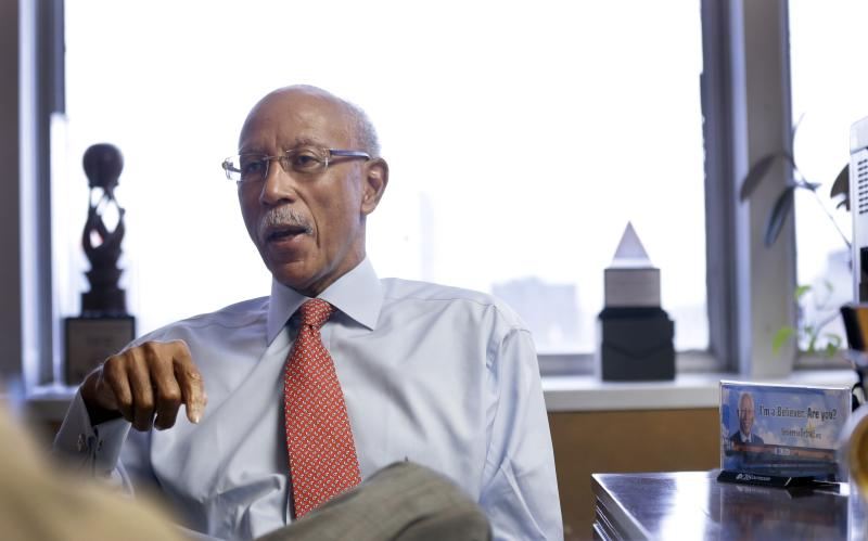 In this Nov. 6, 2013 photo Detroit mayor Dave Bing is interviewed in his office in Detroit. The lame-duck mayor says bankruptcy was inevitable for the financially troubled city after it hit rock bottom from loads of debt. But Bing tells The Associated Press that Detroit needed more resources and money from the state _ not an emergency manager. (AP Photo/Carlos Osorio)