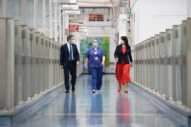 Labour's Sir Keir Starmer visits a hospital