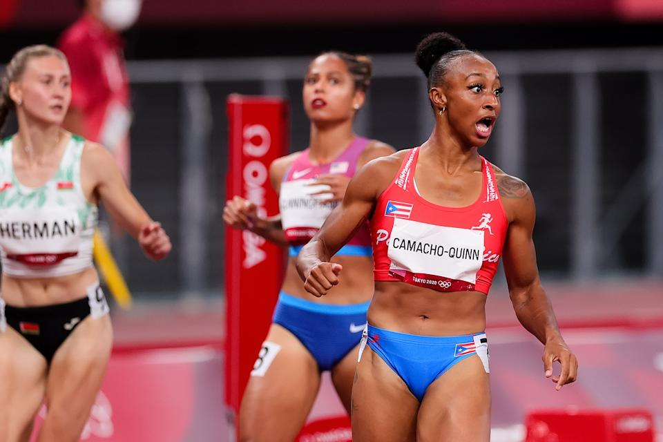 TOKYO, JAPAN - AUGUST 01: Jasmine Camacho-Quinn of Team Puerto Rico celebrates during the Women's 100m Hurdles Semifinal on Day 9 of the Tokyo 2020 Olympic Games at Olympic Stadium on August 01, 2021 in Tokyo, Japan. (Photo by Pete Dovgan/Speed Media/Icon Sportswire via Getty Images)