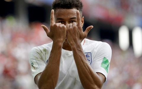 esse Lingard reacts as he celebrates after scoring his team's third goal during the group G match between England and Panama at the 2018 soccer World Cup at the Nizhny Novgorod Stadium in Nizhny Novgorod , Russia, Sunday, June 24, 2018.  - Credit: AP Photo/Matthias Schrader