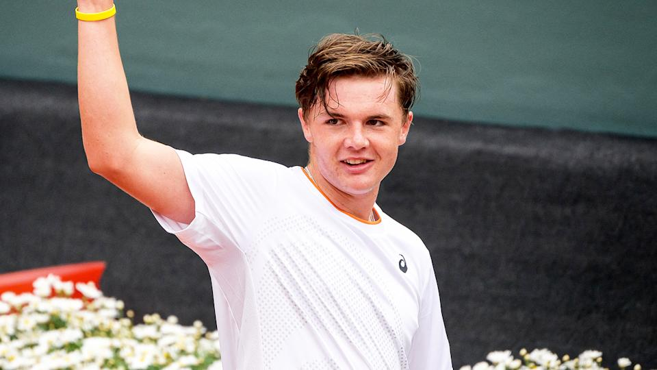 Dominic Stricker (pictured) thanking the crowd after his win in Geneva.