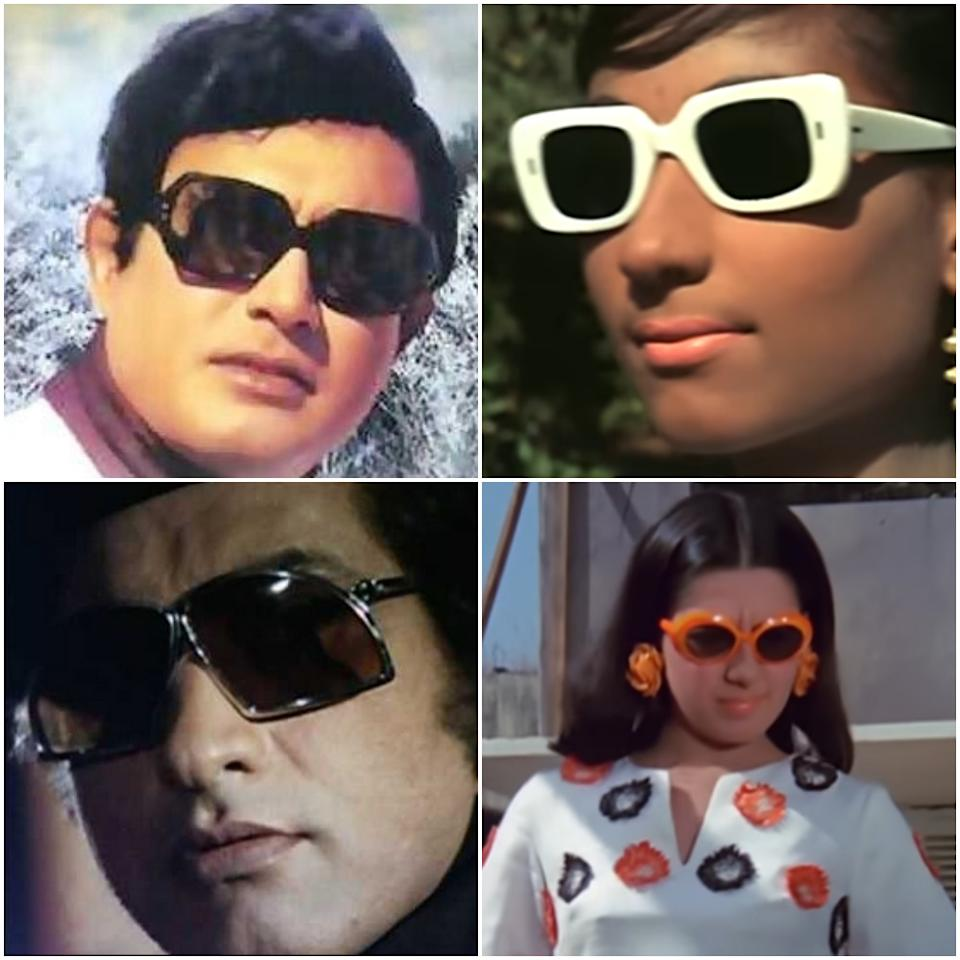 Nerd it out with these strikingly stylish geometrical shaped shades. Stills from Anamika (1973), Do Raaste (1969), Dus Numbri (1976) and Anjaana (1969)