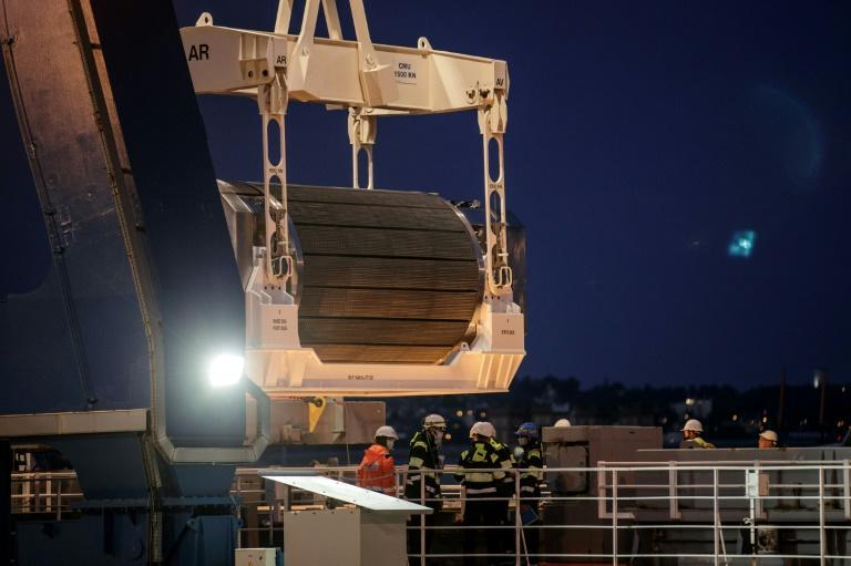 The container of highly radioactive Mox was loaded aboard a ship at harbour in Cherbourg in northern France. (AFP/Sameer Al-DOUMY)