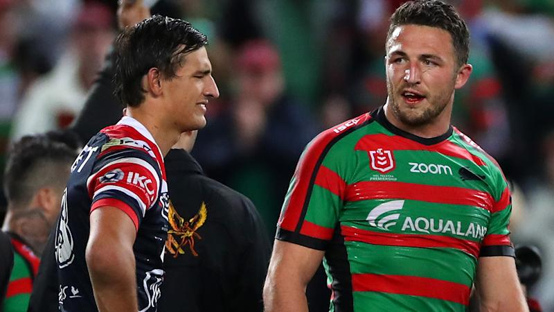 Sam Burgess and Billy Smith, pictured here after an NRL game in 2019.