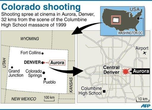 A map of the US state of Colorado, locating the shooting in the Denver suburb of Aurora. A gunman wearing a gas mask opened fire in a crowded US movie theater screening the latest Batman film early Friday, killing at least 12 and wounding nearly 40, police and reports said