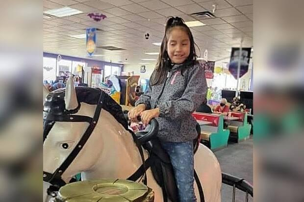 Nevayah Cross-Assiniboine, 7, was last seen walking away from her home in Ochapowace First Nation on Sunday around 7 p.m. CST. RCMP say she's non-verbal, and has social and cognitive impairments. (Saskatchewan RCMP - image credit)