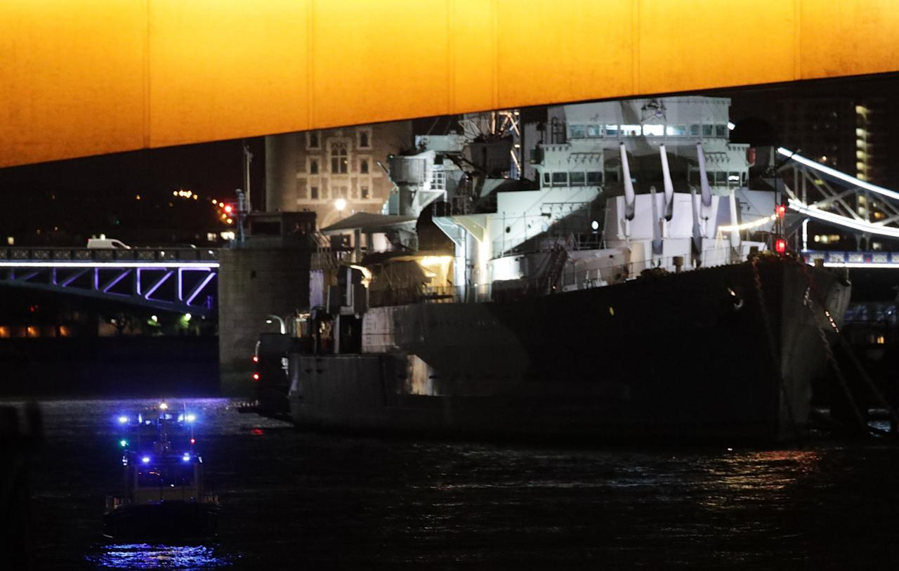 "<p>A police boat passes under London Bridge by HMS Belfast as police have confirmed that incidents at London Bridge and Borough Market are ""terrorist incidents"", following reports of a vehicle ploughing into pedestrians on a bridge and stabbings. (Press Association) </p>"