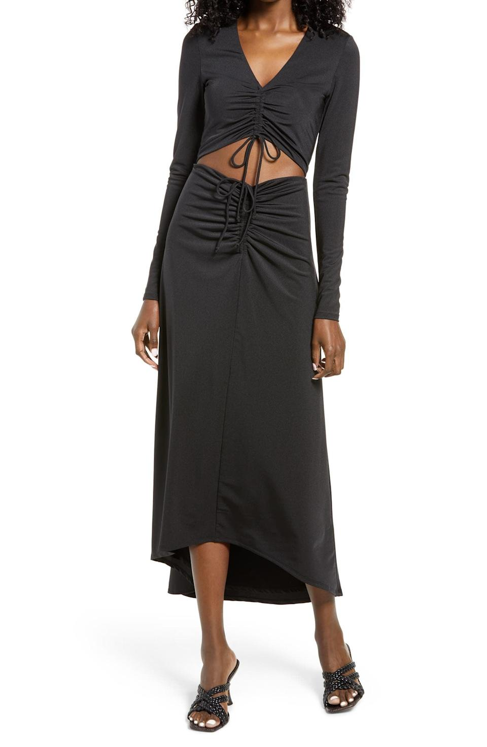<p>The midriff-baring cutout of this <span>AFRM Rhys Cutout Long Sleeve Midi Dress</span> ($77, originally $128) adds an element of surprise that is extremely flattering.</p>