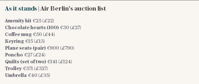 As it stands | Air Berlin's auction list