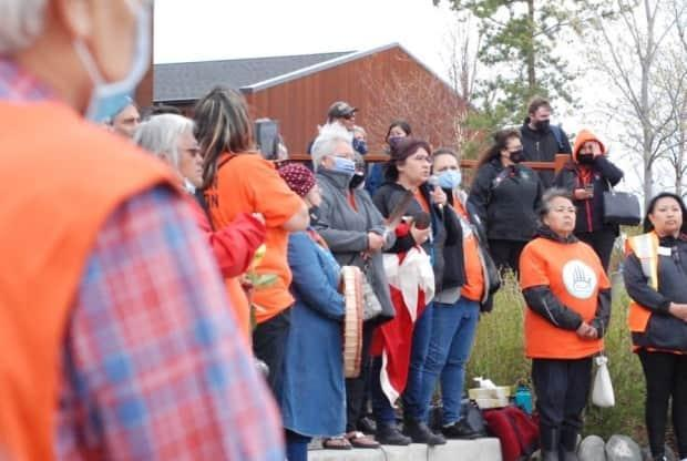 'The message we sent to the Catholic Church was not directly to you, Bishop Villa. I want you to know that. The message is for the Catholic Church itself,' said Kwanlin Dün Chief Doris Bill at a demonstration in Whitehorse on Monday. (Philippe Morin/CBC - image credit)