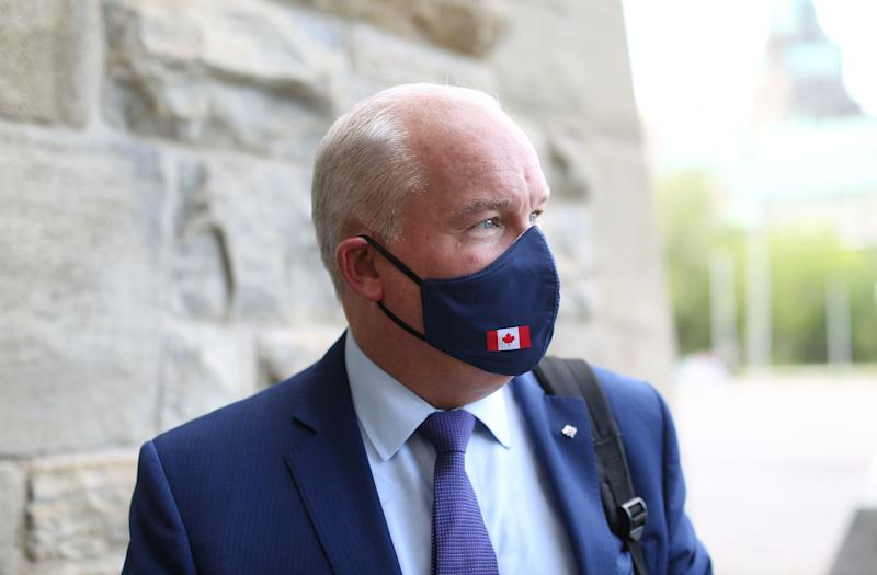 Conservative Party of Canada leader Erin O'Toole on Parliament Hill in August. (Photo: DAVE CHAN via Getty Images)