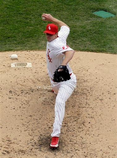Chicago White Sox starter Gavin Floyd delivers a pitch against the Boston Red Sox during the fifth inning of an baseball game in Chicago, Sunday, April 29, 2012. The White Sox won 4-1. (AP Photo/Nam Y. Huh)