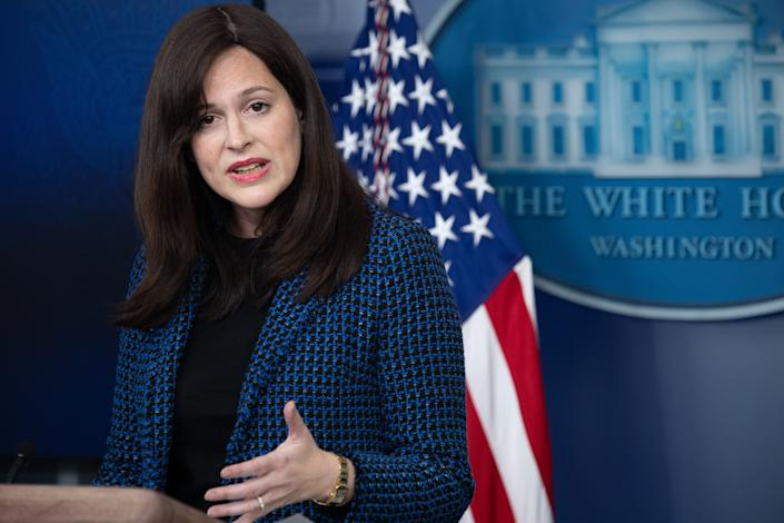 Deputy National Security Advisor for Cyber and Emerging Technology, Anne Neuberger, speaks during a press briefing on February 17, 2021, in the Brady Briefing Room of the White House in Washington, DC. (Saul Loeb/AFP via Getty Images)