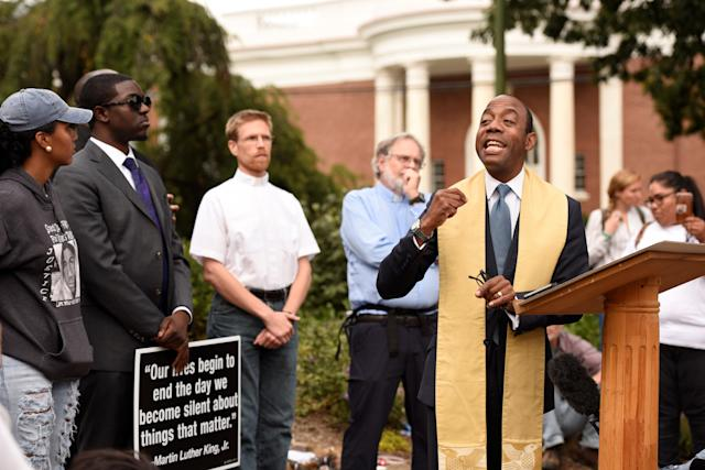 "<p>Former president of National Association for the Advancement of Colored People (NAACP) Cornell William Brooks speaks before ""Charlottesville to D.C: The March to Confront White Supremacy,"" a ten-day trek to the nation's capital from Charlottesville, Va., Aug. 28, 2017. (Photo: Sait Serkan Gurbuz/Reuters) </p>"