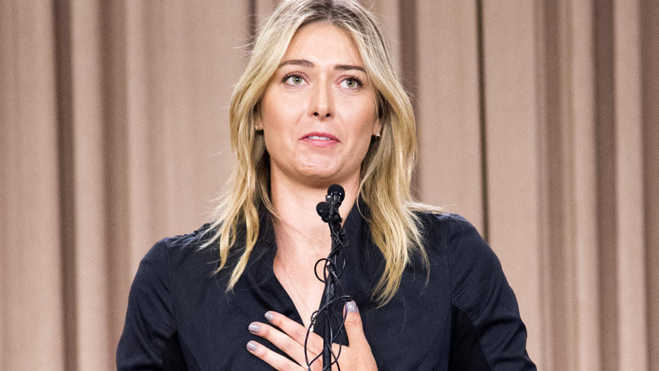Maria Sharapova, pictured here speaking at a press conference after testing positive for Meldonium.