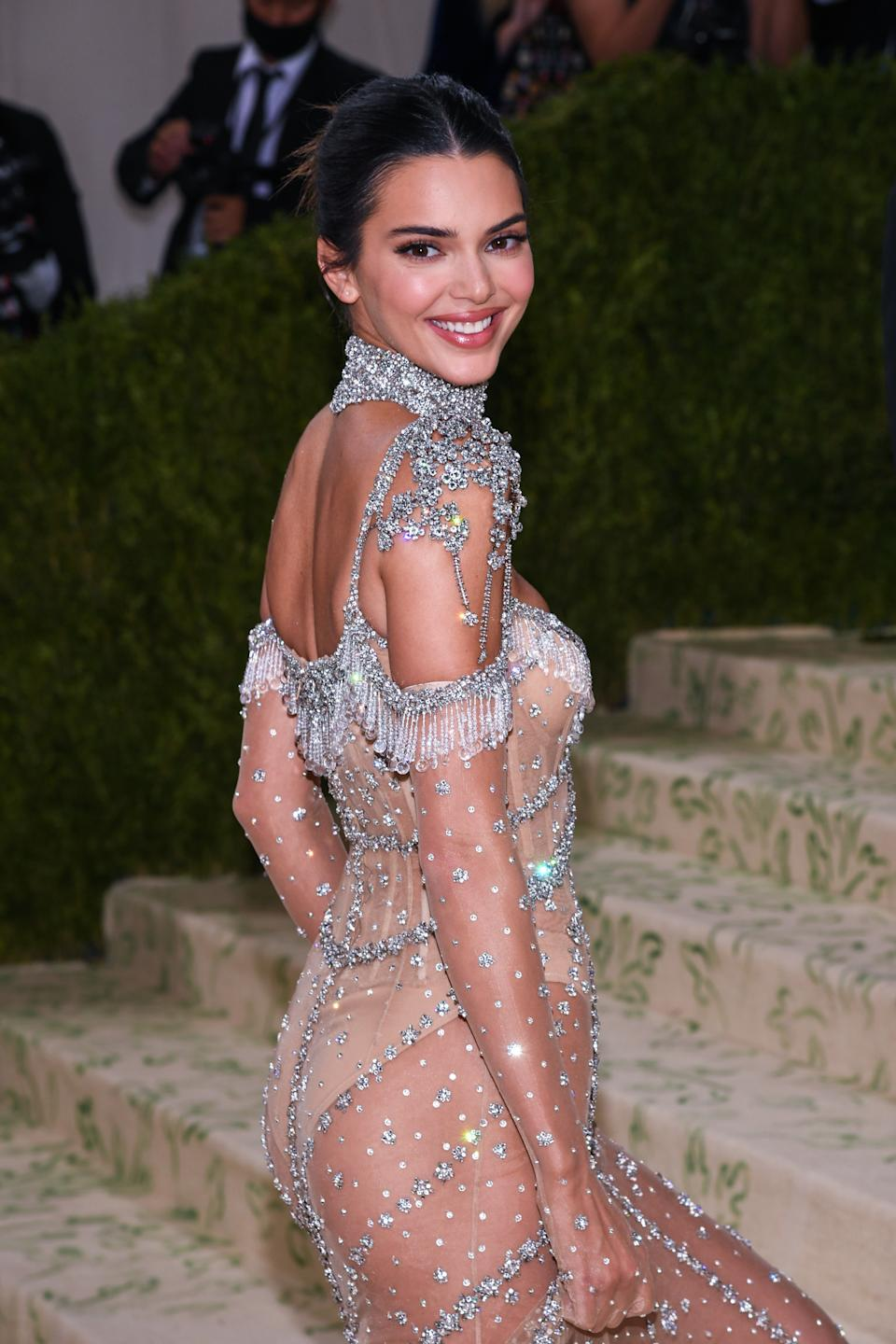 Kendall Jenner walking on the red carpet at the 2021 Metropolitan Museum of Art Costume Institute Gala celebrating the opening of the exhibition titled In America: A Lexicon of Fashion held at the Metropolitan Museum of Art in New York, NY on September 13, 2021. (Photo by Anthony Behar/Sipa USA)