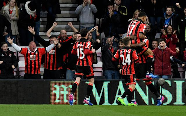 <span>Bournemouth celebrate victory over Swansea</span>