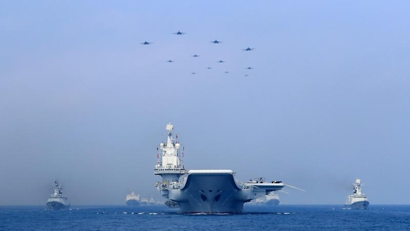 A Chinese aircraft carrier group. (Source: SCMP)