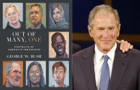 """This combination photo shows the cover image for """"Out of Many, One: Portraits of America's Immigrants"""" by George W. Bush, left, and a photo of former President George W. Bush. Crown announced Thursday that the book will be published March 2. It includes 43 portraits by the 43rd president, four-color paintings of immigrants he has come to know over the years, along with biographical essays he wrote about each of them. (Crown via AP, Left, and AP)"""