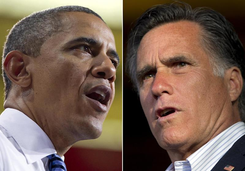 In this combo made from file photos, President Barack Obama, left, speaks at the University of Iowa in Iowa City, on April 25, 2012, left, and Republican presidential candidate, former Massachusetts Gov. Mitt Romney speaks during a campaign stop in Wilmington, Del. on April 10, 2012. After all their liberal vs. conservative differences are spoken, Obama and Romney sound a lot alike when they are being described by the other guy or his campaign. That leaves voters the challenge of having to sort out what's real and what's been stretched out of proportion. (AP Photo/Carolyn Kaster, Evan Vucci, File)