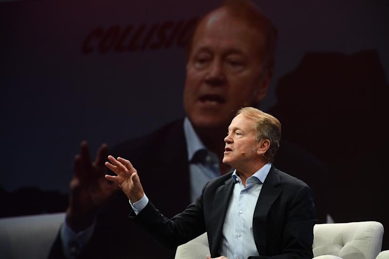 Toronto , Canada - 22 May 2019; John Chambers, Cisco, on Centre Stage during day two of Collision 2019 at Enercare Center in Toronto, Canada. (Photo By David Fitzgerald/Sportsfile via Getty Images)