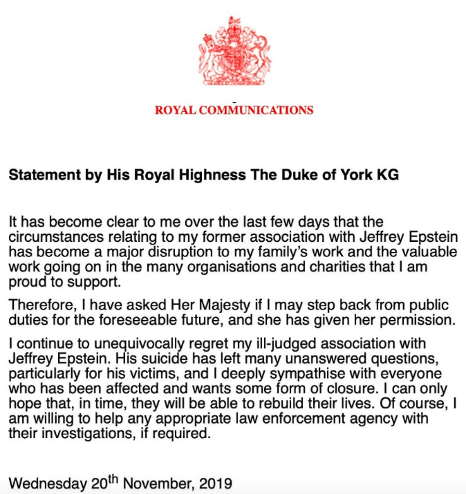 The Duke of York announced his decision to step down from royal duties on Wednesday night (Twitter)