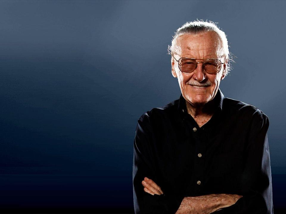 Stan Lee headshot, comic creator, on texture, partial graphic