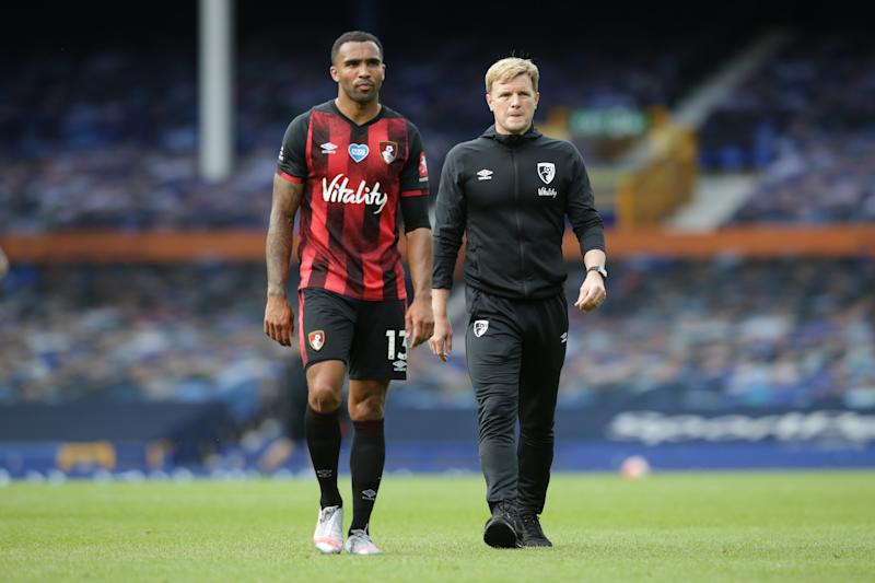 Callum Wilson and Eddie Howe of Bournemouth leave the pitch after their side are relegated from the Premier League.