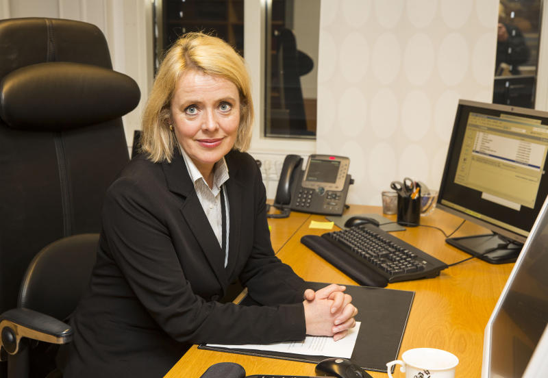 Marie Benedicte Bjoernland, the head of the Norwegian domestic intelligence service PST, poses for a picture in her office in Oslo, Norway Wednesday Oct. 23 2013 during an interview with the Associated Press. PST tried to prevent one of the suspected gunmen in the Nairobi mall attack from joining Somali militants more than three years ago, but failed to talk him out of it, Bjoernland said. The man has been identified in Kenya as Hassan Abdi Dhuhulow, a 23-year-old Somalia native whose family moved to Norway in 1999. (AP Photo/Tor Lindseth)
