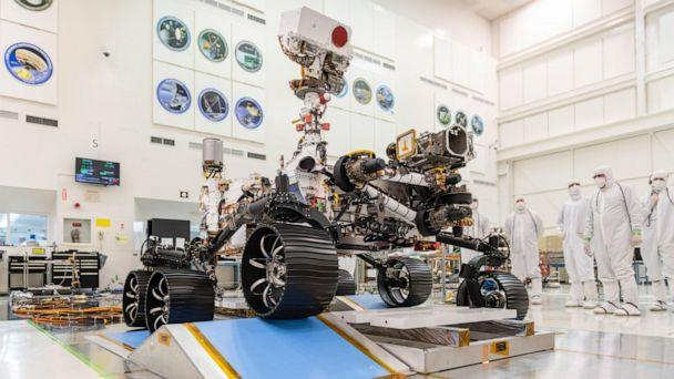 PHOTO: In a clean room at NASA's Jet Propulsion Laboratory in Pasadena, Calif., engineers observed the first driving test for NASA's Mars 2020 rover on Dec. 17, 2019. (NASA/JPL-Caltech)