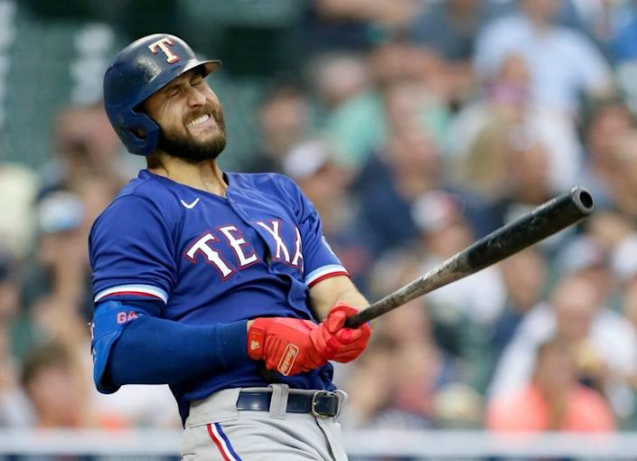 Texas Rangers' Joey Gallo reacts after hitting a fly ball for an out during the fourth inning of a baseball game against the Detroit Tigers, Monday, July 19, 2021, in Detroit. (AP Photo/Duane Burleson)