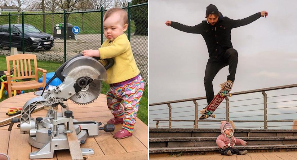 Images from 'onadventurewithdad' including his daughter operating a power tool and using his daughter as a skate ramp