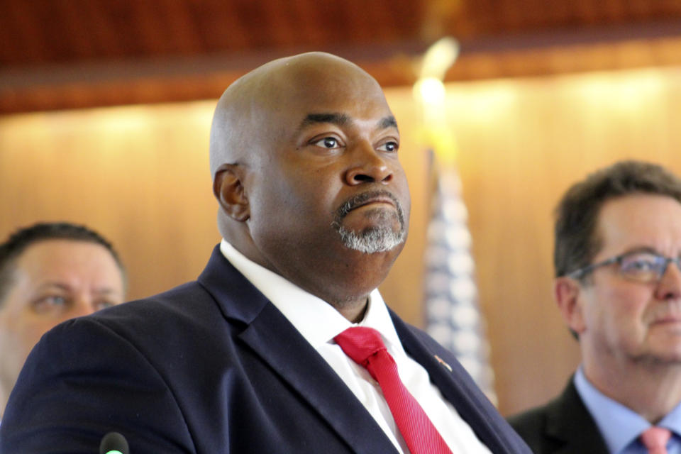 North Carolina Republican Lt. Gov. Mark Robinson speaks Tuesday, Aug. 24, 2021, in Raleigh, N.C., as Senate Republicans advanced a measure that would limit how teachers can discuss racial concepts inside the classroom. (AP Photo/Bryan Anderson)