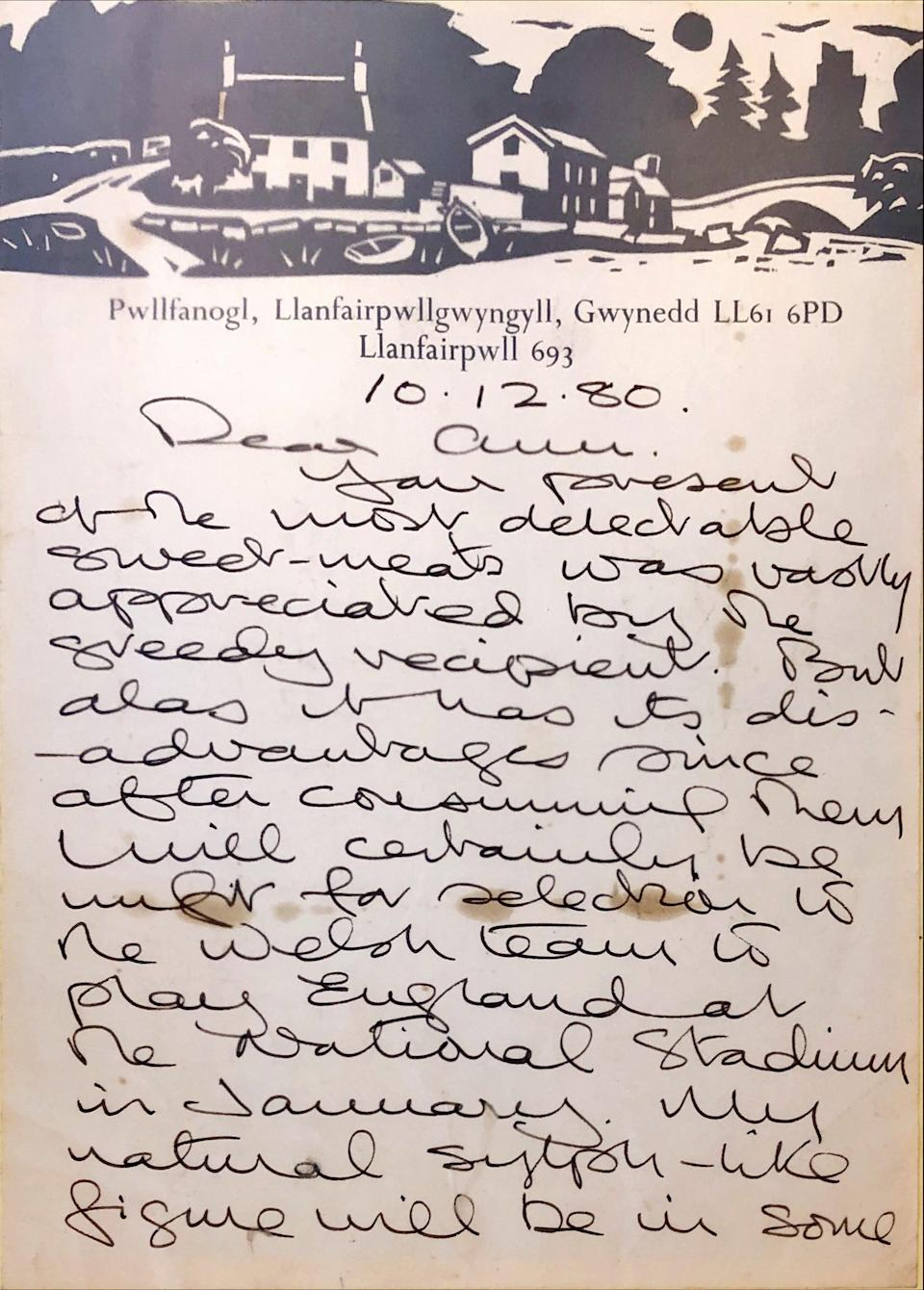 A letter written by the artist to the family selling the painting is also being sold (Parker Fine Art Auctions/PA).